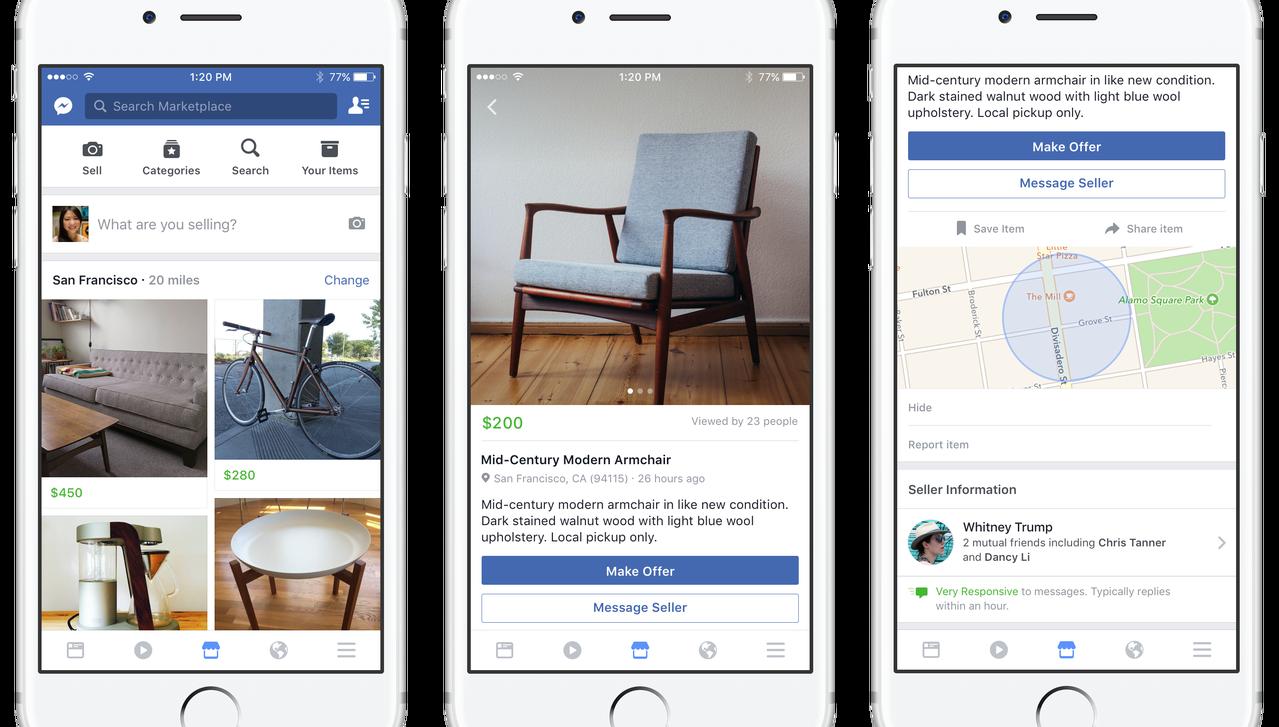Facebook запустила во Франции сервис частных объявлений Marketplace