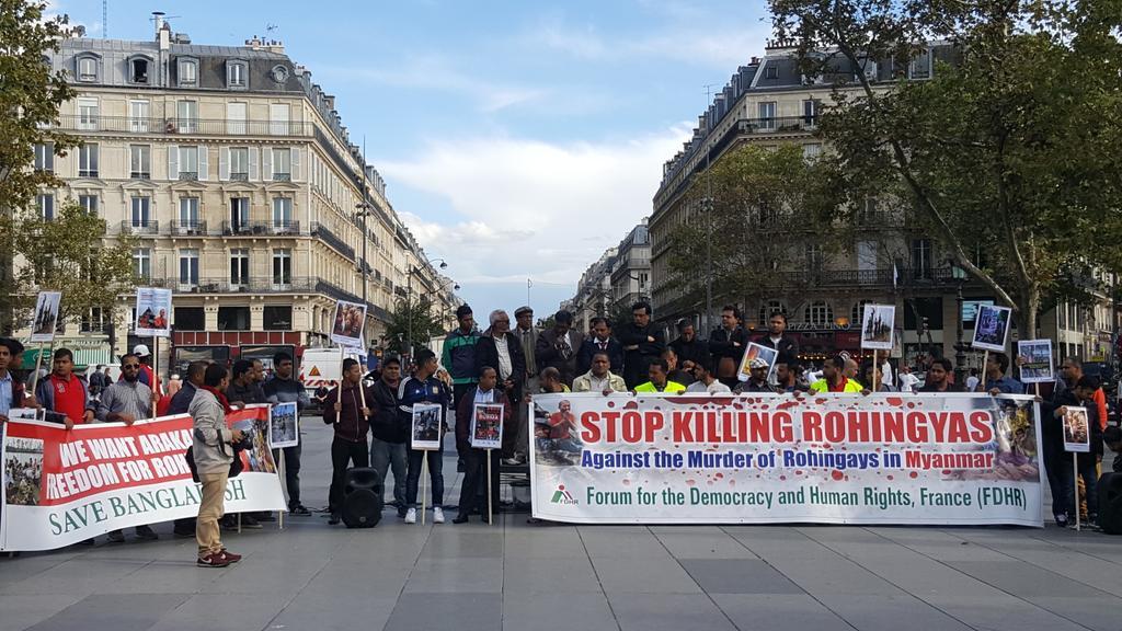 Митинг в поддержку рохинджа прошел в Париже