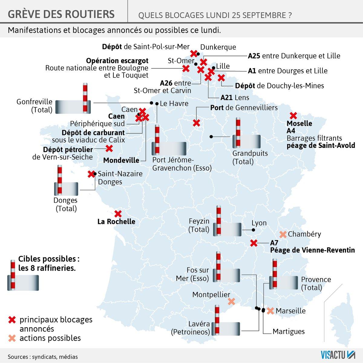 Дальнобойщики начали забастовку во Франции