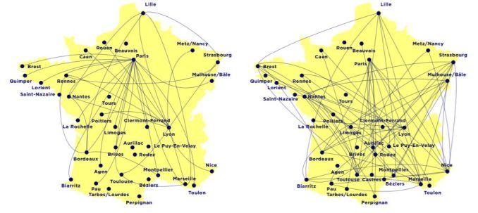Предлагаемые ассоциацией Réseau Action Climat сокращения (слева) и целевая национальная сеть авиамаршртов